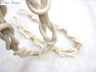 2 Rosa Knotted Rope Curtain Tiebacks Natural Cream Cotton